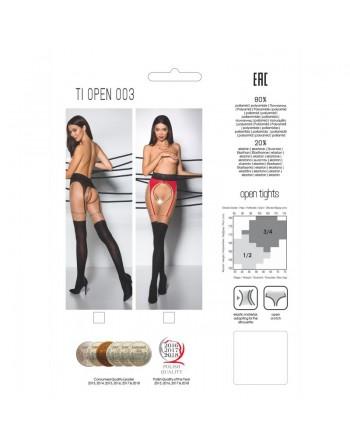 TI003B Collants ouverts 20/40 DEN - Noir