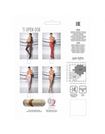 TI008R Collants ouverts 30 DEN - Rouge