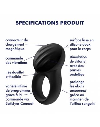 Cockring connecté Satisfyer Signet Ring - Noir