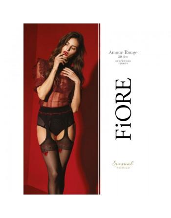 Amour Rouge Bas jarretelles 20 DEN - Noir et Rouge - Qualité premium