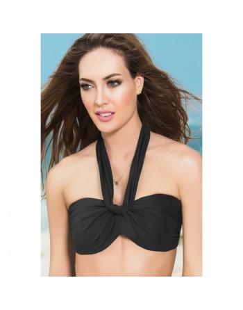 Haut de maillot de bain bandeau effet drapé Style 6848 - Noir